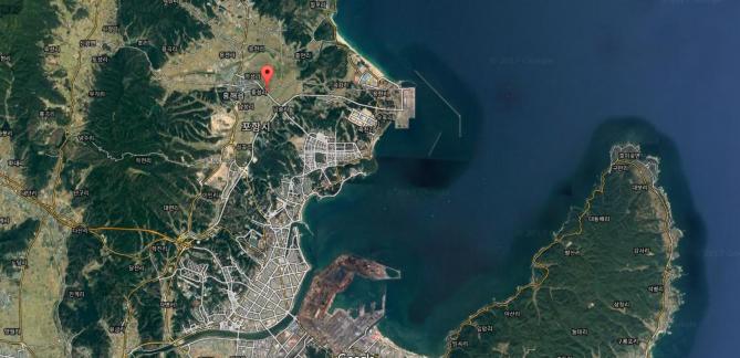 11월 15일 오후 2시 29분 발생한 지진 진앙지 위치. - Google map 제공
